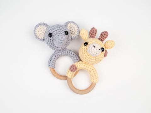 Jungle Animals Baby Rattles Crochet Kit & Pattern in Deramores Yarn