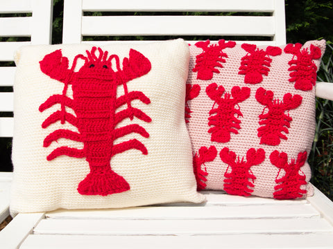 Lobster Cushion Set Crochet kit and Pattern in Deramores Yarn