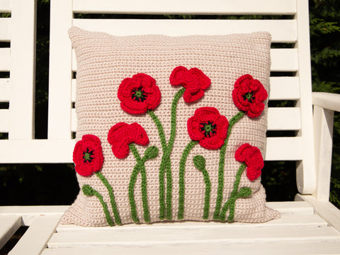 Poppy Cushion Crochet Kit and Pattern in Deramores Yarn