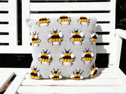 Busy Bees Cushion Crochet Kit and Pattern in Deramores Yarn