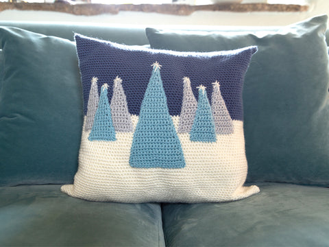 Winter Christmas Tree Cushion Crochet Kit and Pattern in Deramores Yarn