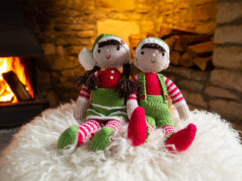 Festive Elves Knitting Kit and Pattern in Deramores Yarn