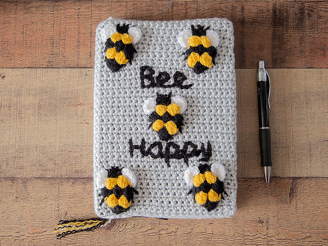 Bee Happy Notebook Cover Crochet Kit and Pattern in Deramores Yarn