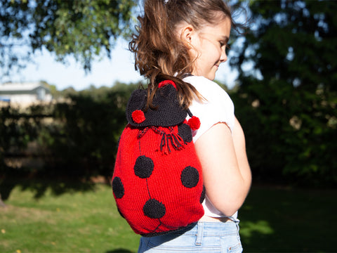 Ladybug Backpack Knitting Kit and Pattern in Deramores Yarn