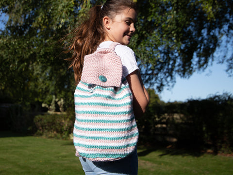 Pastel Backpack Knitting Pattern and Kit in Deramores Yarn