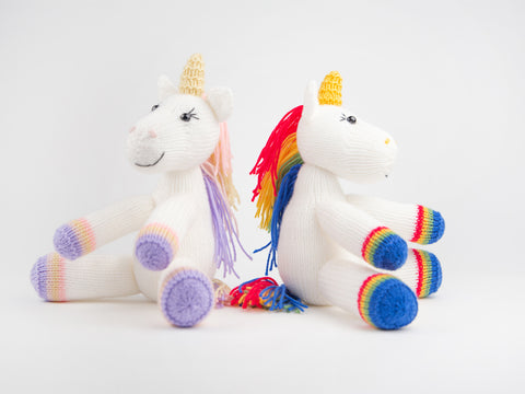 Unicorns Toy Knitting Kit and Pattern in Deramores Yarn
