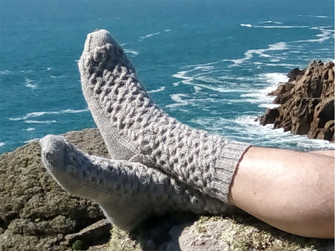 Mens Cabled Socks by Sarah Murray in West Yorkshire Spinners Signature 4 Ply