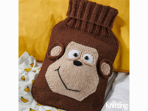 Simply Knitting Monkey Hot Water Bottle Cover by Amanda Berry in Deramores Studio DK