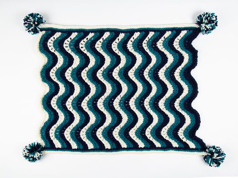 Baby Boy Waves Blanket by Nicola Valiji in Deramores Studio Chunky (TV Bundle)