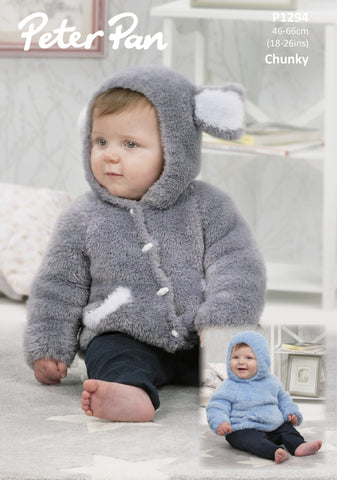 Hooded Sweater and Jacket in Peter Pan Precious Chunky (1294)