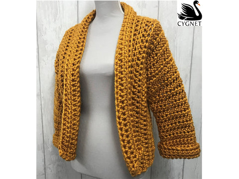 Cropped Cardigan Crochet Kit and Pattern in Cygnet Yarn