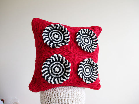 Red Rum Crocheted Cushion Crochet Kit and Pattern