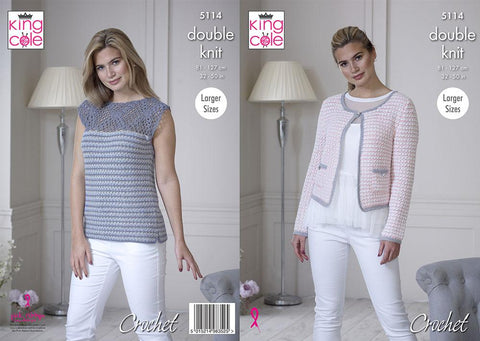 Jacket & Top in King Cole Finesse Cotton Silk DK (5114K)