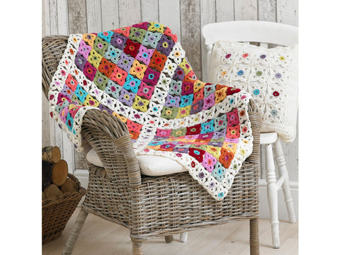 Blanket and Cushion Crochet Kit and Pattern in Stylecraft Yarn (9090)