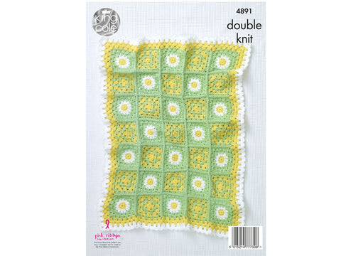 Floral Motif Blankets in King Cole Cherished Baby DK - Yarn and Pattern