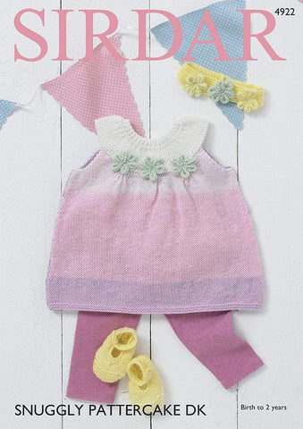 Round Neck Sleeveless Dress, Headband & Bootees in Snuggly Pattercake DK (4922S)