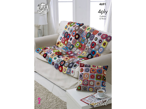 Flower Trellis Crocheted Throw & Cushion in King Cole Giza Cotton 4 Ply - Yarn and Pattern