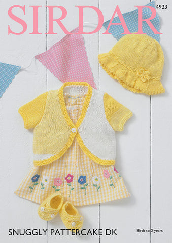 Bolero, Sunhat & Shoes in Snuggly Pattercake DK (4923S)