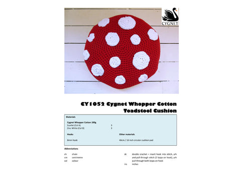 Toadstool Cushion in Cygnet Yarns Whopper Cotton
