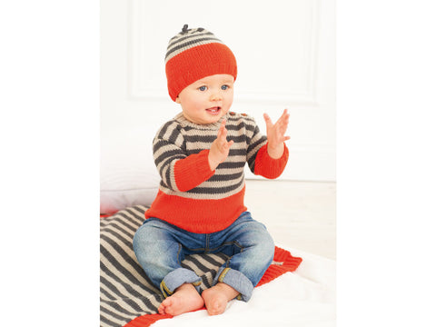 Babies Sweater, Blanket and Hat Kit in Rico Design Baby Classic DK (198)