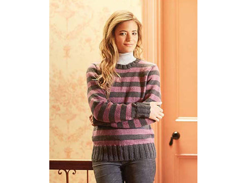 Ladies Striped Pullover in Patons Diploma Gold DK