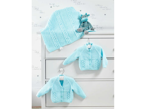Cardigans and Blanket in James C. Brett Baby DK  (JB515) - Knitting Kit and Pattern