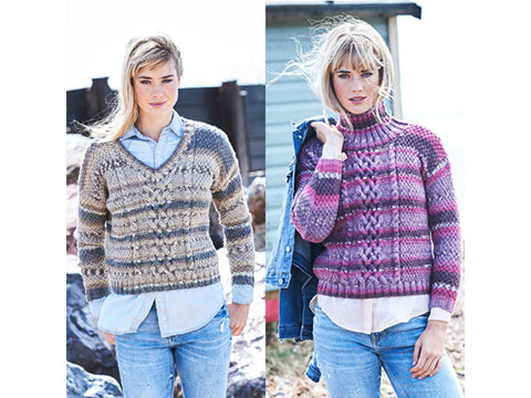 Cable Vee Neck and Roll Neck Sweaters in Stylecraft Life Heritage (9568)