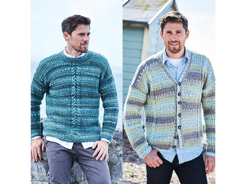 6574753f9 Mens Broken Rib   Cable Sweater and Cardigan in Stylecraft Life Heritage  (9573)