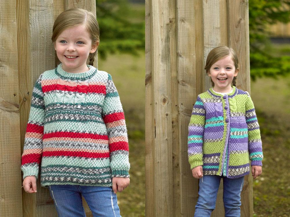 a38012549 Girls Sweater   Cardigan in James C. Brett Fairground DK (JB488 ...