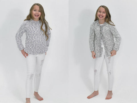 Girls Sweater & Cardigan in James C. Brett Tranquil Chunky (JB492)