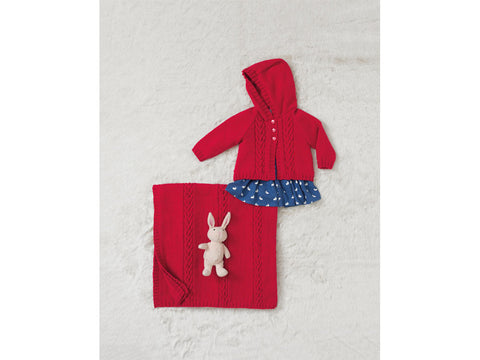 Red Baby Jacket and Blanket in Sirdar Snuggly 4 Ply (4687)
