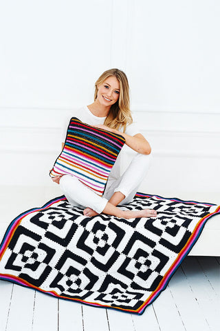 Hypno Blanket and Cushion Crochet Kit and Pattern in Stylecraft Yarn (9527)