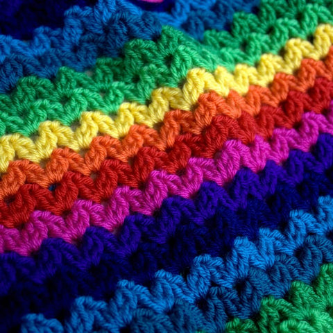 Ric Rac Blanket - Deramores Studio DK - Rainbow Yarn Pack - Inc Pattern