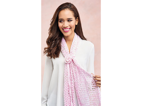 Let's Knit Rose Trellis Scarf in King Cole Giza Cotton Sorbet 4Ply