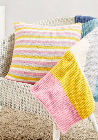 Beginners Knit Kit - Striped Cushion in Studio DK Knitting Kit and Pattern