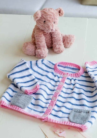 Striped Cardie in Deramores Baby DK - Digital Version