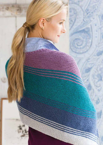 Striped Shawl Kit in Deramores Studio DK