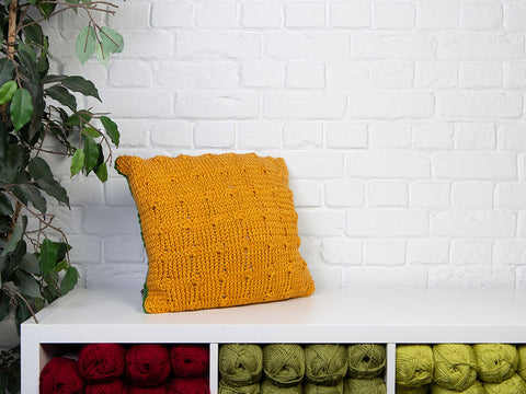 Summer Bobbles Cushion by Katie Barber in Deramores Studio Chunky