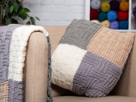 Vigur Basket Stitch Throw and Cushions by Wendy Kippax in Deramores Studio Chunky