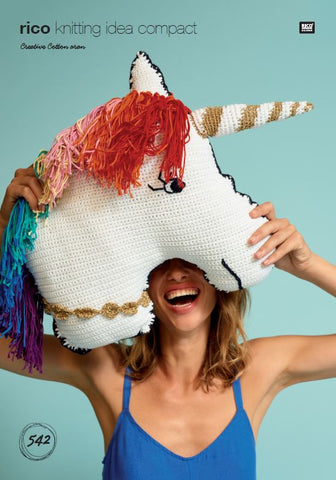 Unicorn Cushion in Rico Creative Cotton Aran - 542 - Digital Version