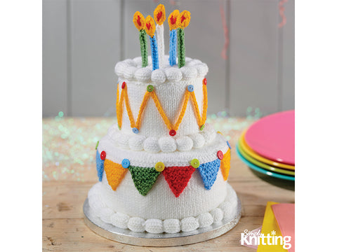 Simply Knitting Birthday Cake by Amanda Berry in Hayfield Yarn