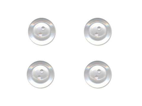 Pearlescent Rimmed Round Buttons - White - 021