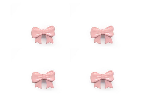 Bow Shaped Buttons - Pink - 089-Deramores