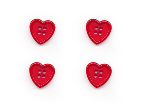 Heart Shaped Buttons - Red - 060-Deramores