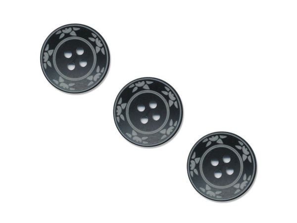 Round Floral Detailed Buttons - Black - 475