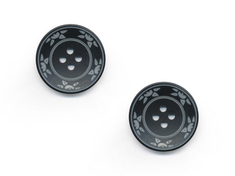 Round Floral Detailed Buttons - Black - 476
