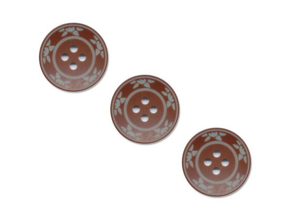 Round Floral Detailed Buttons - Brown - 507