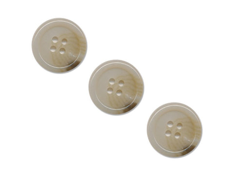 Round Rimmed Shell Effect Buttons - Beige - 867