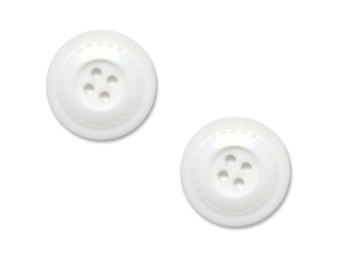 Round Stitch Effect Buttons - White - 888