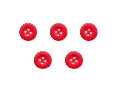 Round Thick Rimmed Buttons - Red - 933